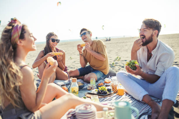 pleasant beach picnic with my friends - picnic stock pictures, royalty-free photos & images
