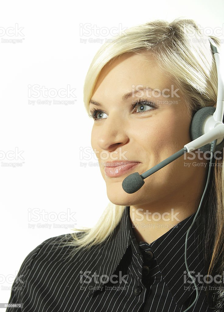 Pleasant Girl at Call Center royalty-free stock photo