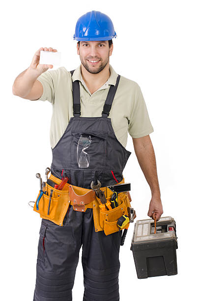 Pleasant handy man, contractor stock photo
