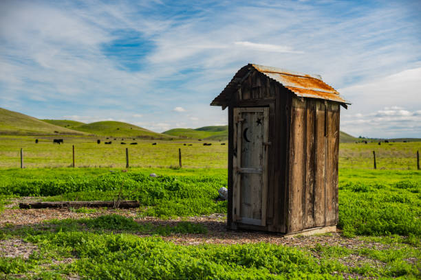 A Pleasant Outhouse It's an inviting outhouse in East Bay. portable toilet stock pictures, royalty-free photos & images