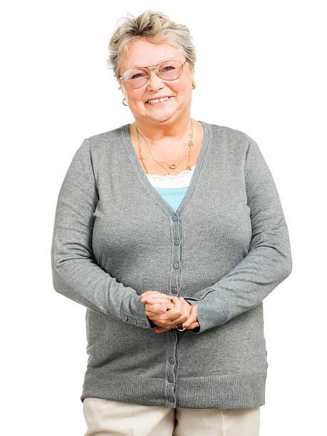 Pleasant Senior Woman (Isolated on White) stock photo