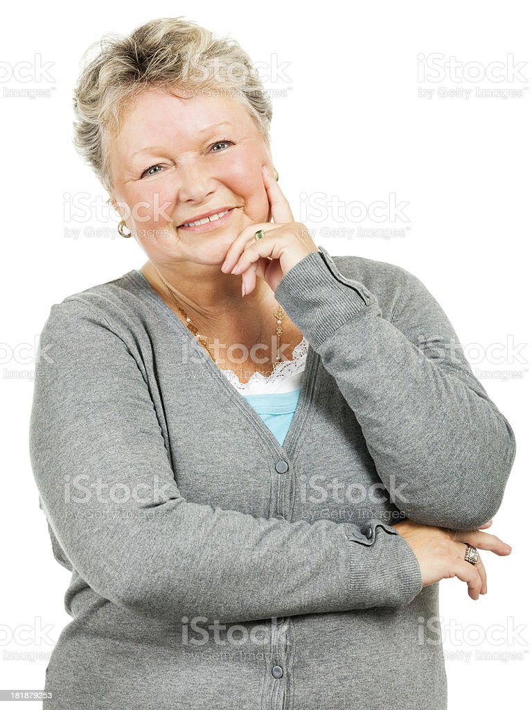 Pleasant Senior Woman (Isolated on White) royalty-free stock photo