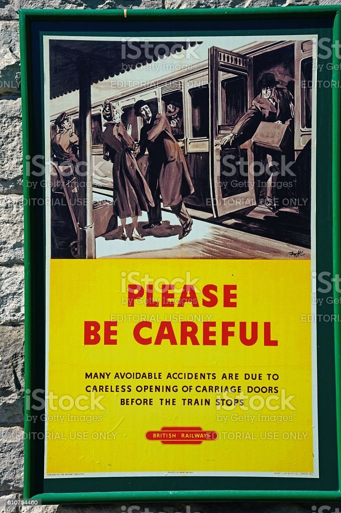Please be careful railway sign. stock photo