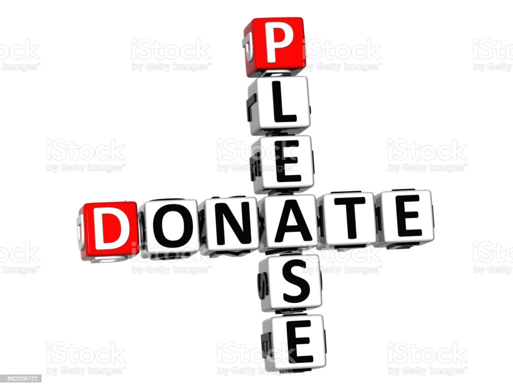 3D Please Donate Crossword on white background royalty-free stock photo