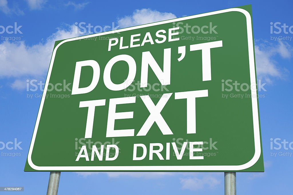 Please Don't Text and Drive Highway Sign royalty-free stock photo