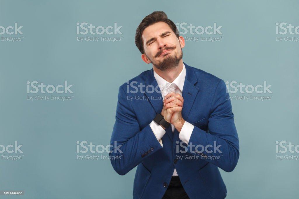 Please forgive me! Guy made a big mistake stock photo