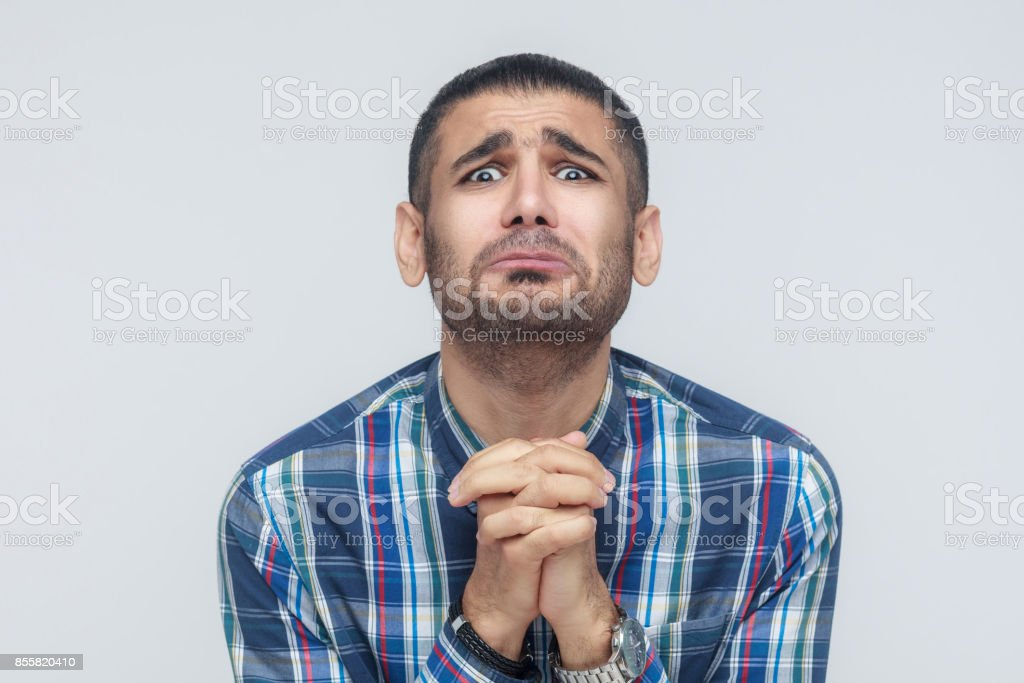Please help me! Bearded man need a help. stock photo