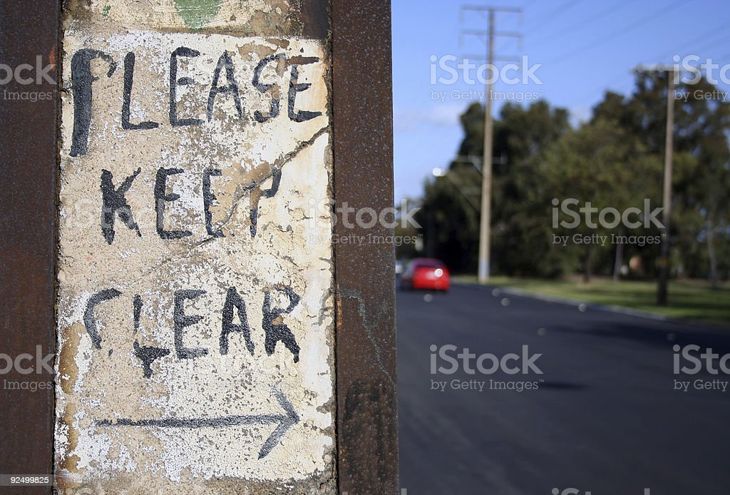 Please keep clear sign royalty-free stock photo