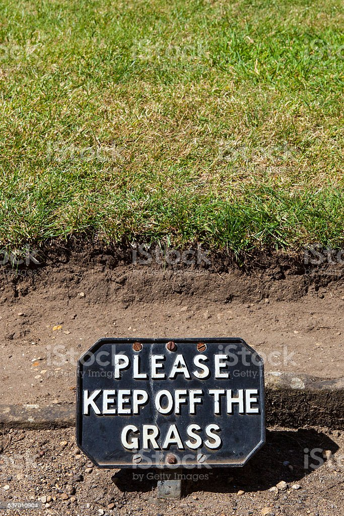 Please Keep Off The Grass stock photo