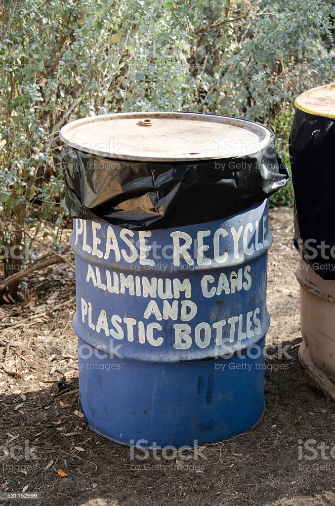 Please Recycle Barrell stock photo