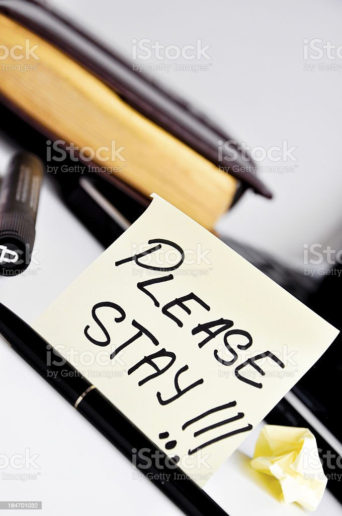 please stay post it message card royalty-free stock photo