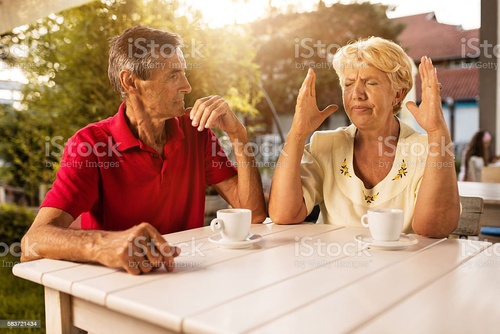 Please stop talking, I can't listen to you anymore! stock photo