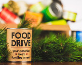 istock Please support our food drive. Holiday canned food drive 512597132