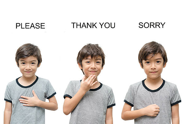 please, thank you, sorry kid hand sign language - sign language stock photos and pictures