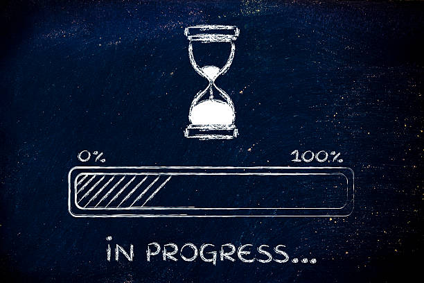 please wait hourglass illustration with progress bar stock photo