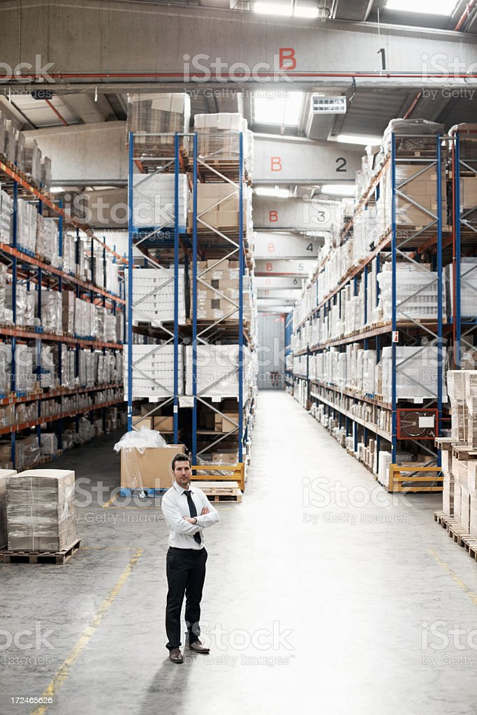 Pleased with his warehouse management royalty-free stock photo