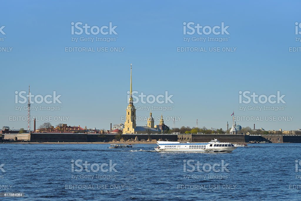 Pleasure boat floats on the Neva river on the background stock photo