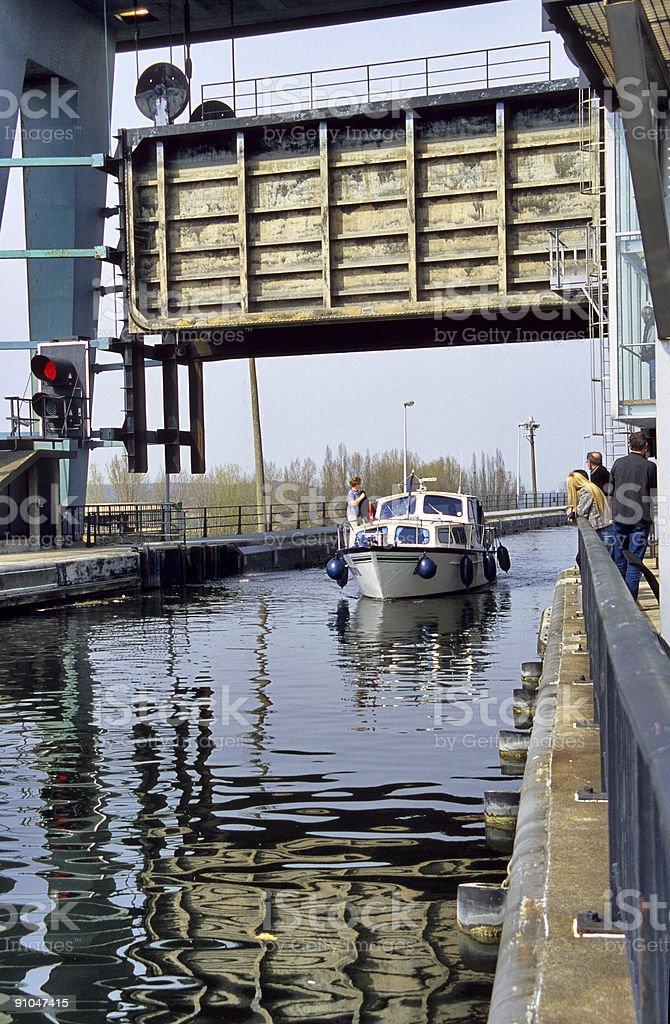 Pleasure Boat Sails Locks royalty-free stock photo