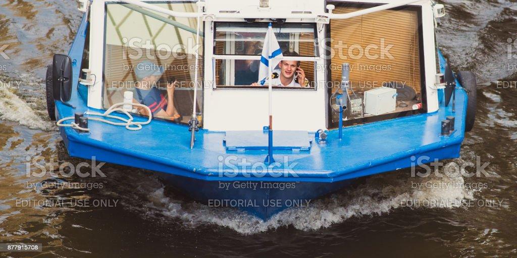Pleasure boat skipper - people of Saint Petersburg stock photo
