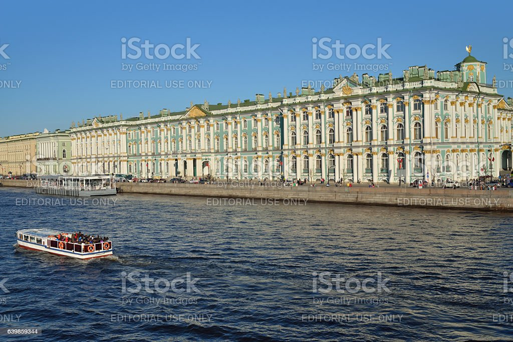 pleasure boat with tourists floats on the Neva river stock photo