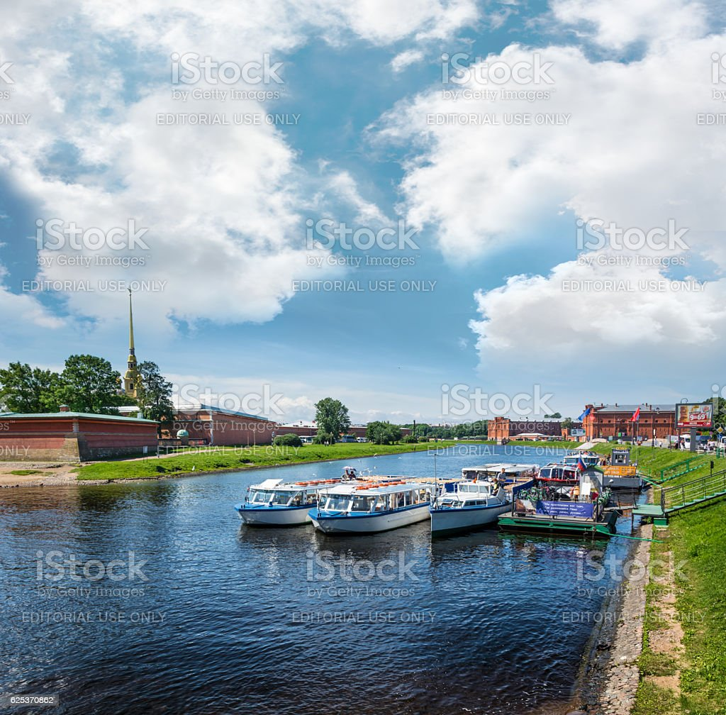 Pleasure boats are berthed in Kronverk Strait stock photo