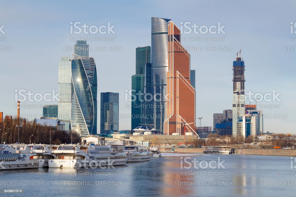 Pleasure boats at the pier on the background of Moscow international business center Moscow city stock photo