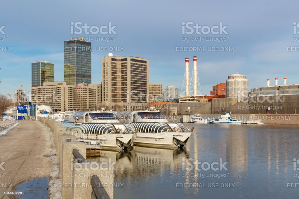 Pleasure boats at the pier on the Moskva river stock photo