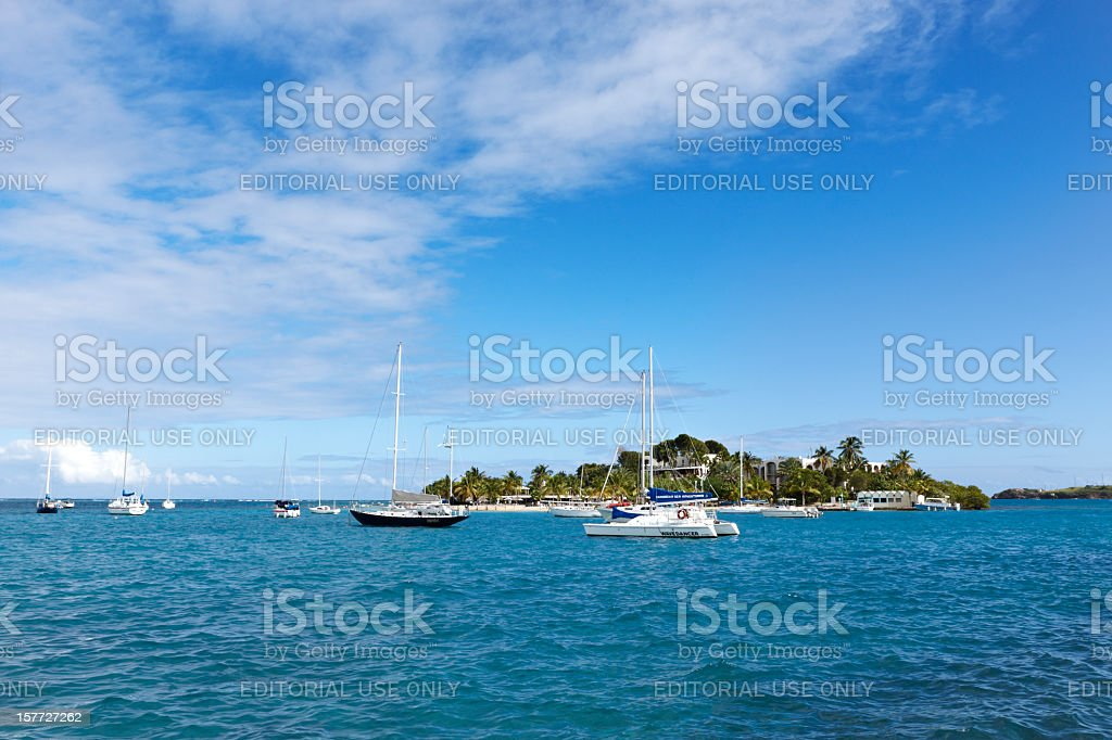 Pleasure Boats, Christiansted Harbor, St. Croix, US Virgin Islands stock photo