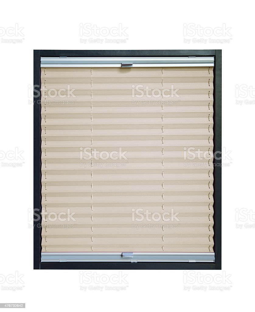 Pleated blind - beige color stock photo