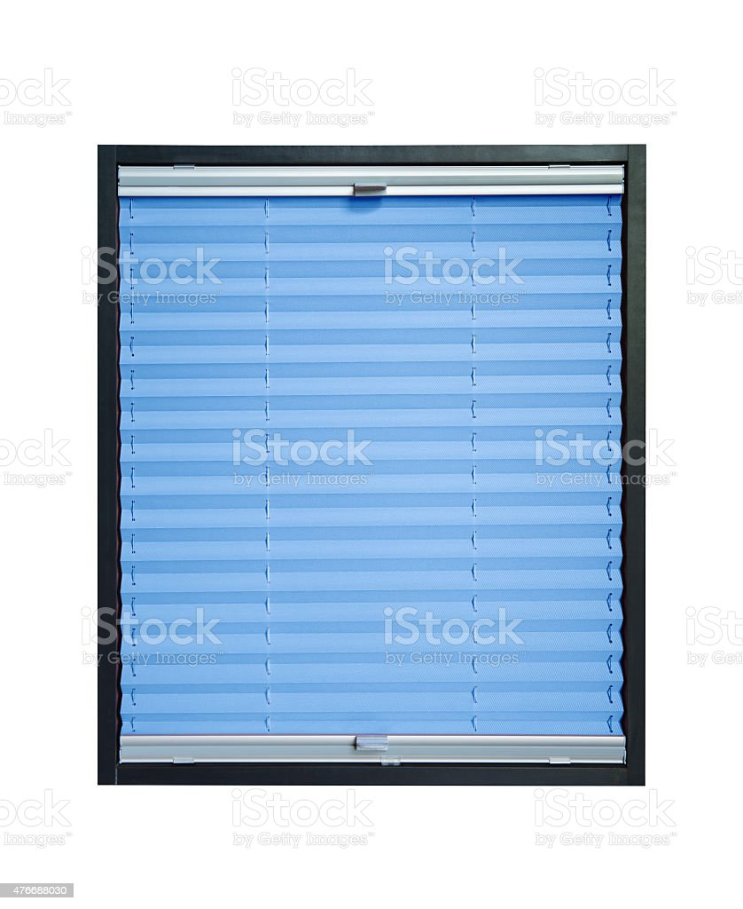 Pleated blind - light blue azure color stock photo