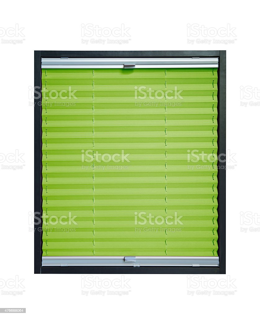 Pleated blind - light green color stock photo