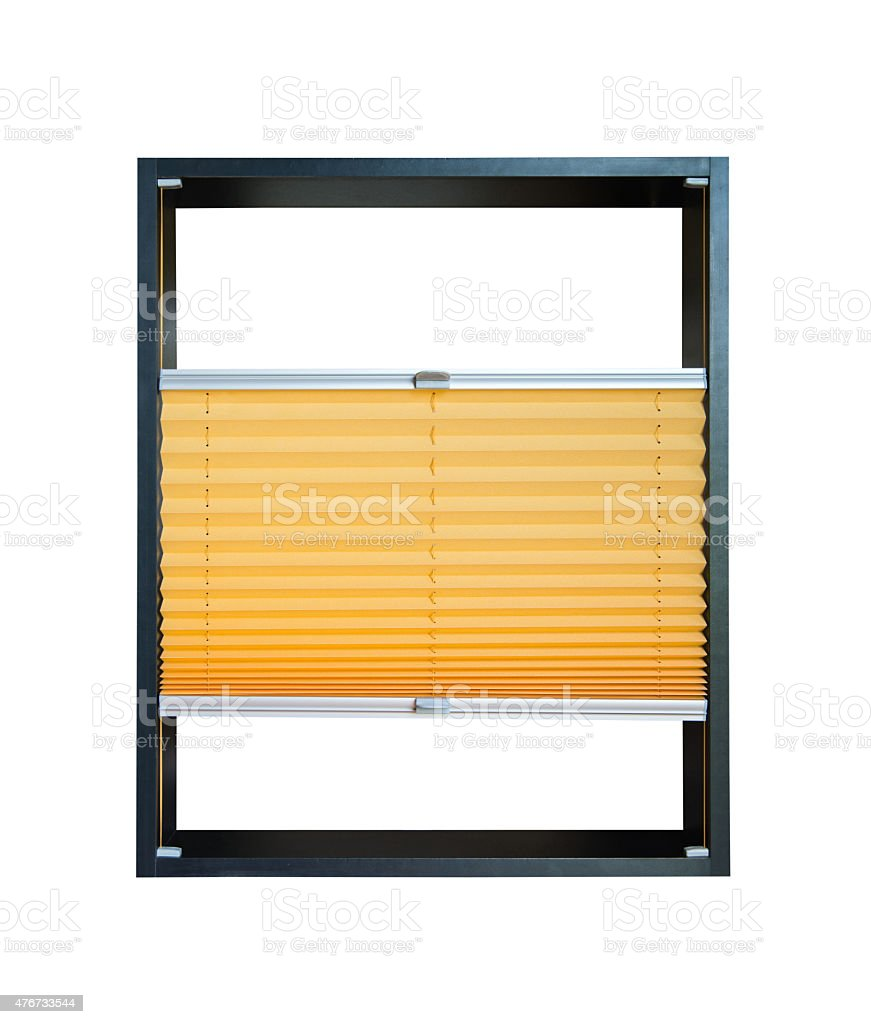 Pleated blind partially opened - yellow color stock photo