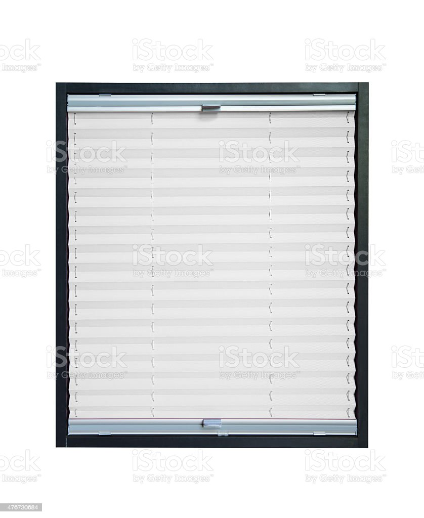 Pleated blind - white color stock photo