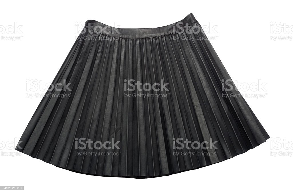 Pleated Leather midi skirt isolated on white background stock photo