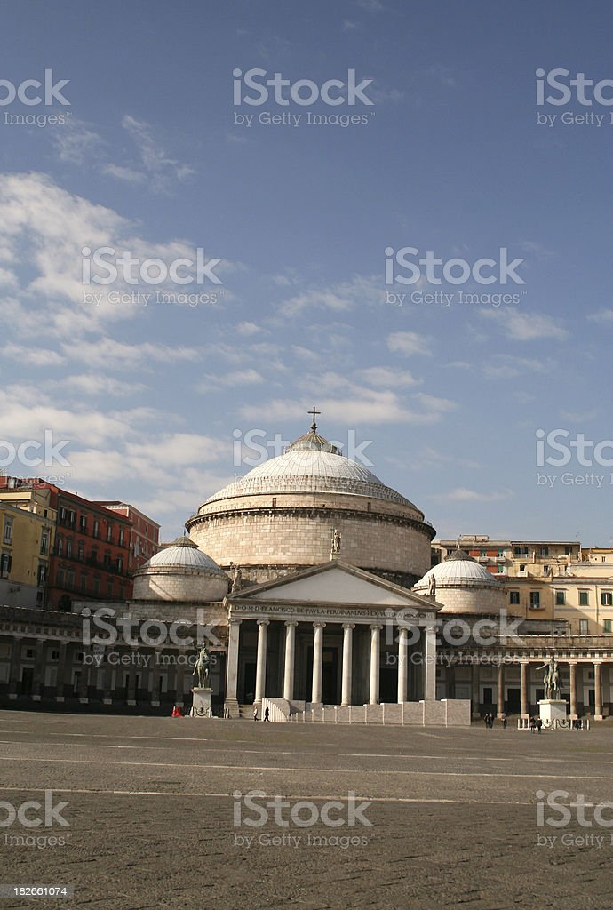 Plebiscito place in Naples, Italy royalty-free stock photo