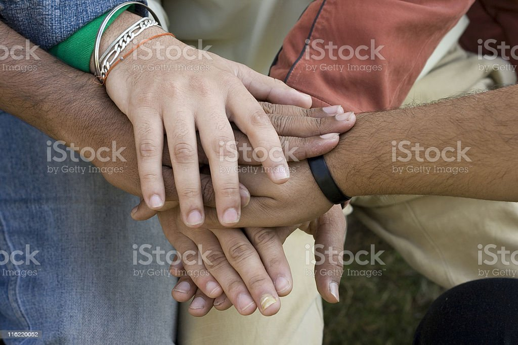 Pledge Asian Hands showing unity royalty-free stock photo