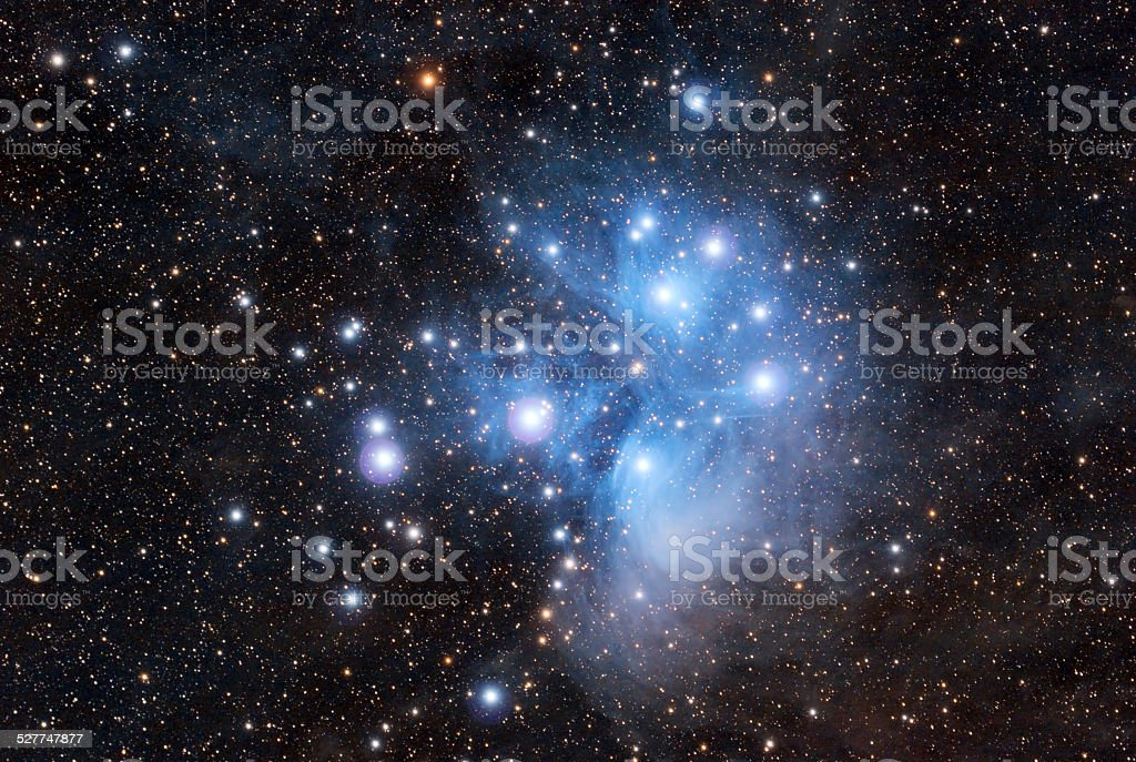 Pleiades in a dark night sky stock photo