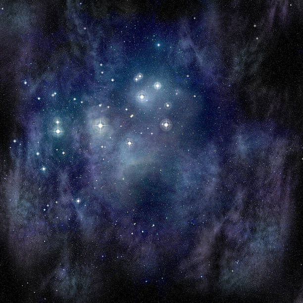 das pleiades (sieben schwestern) in der stier constellation - sternhaufen stock-fotos und bilder