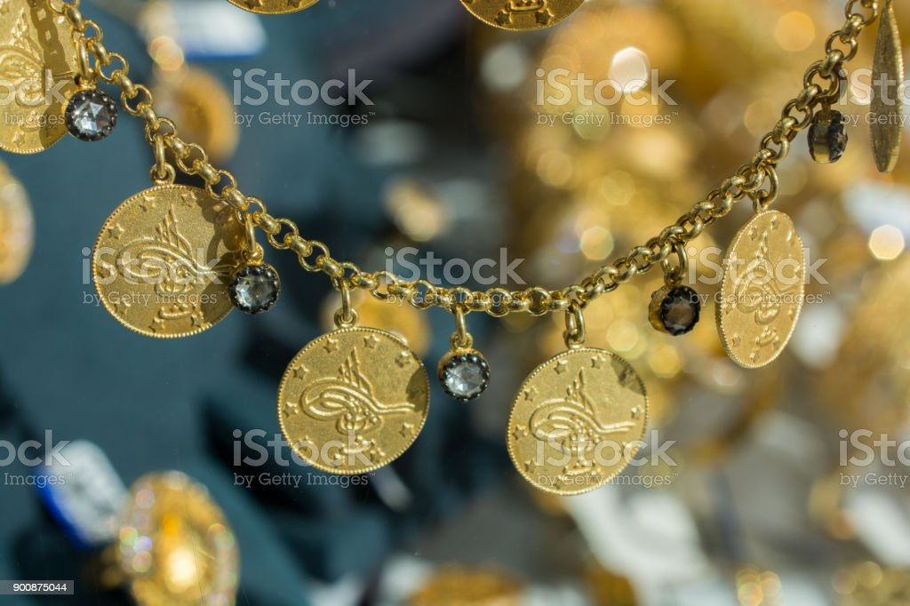 Plenty Of Geniune Turkish Gold Coins Stock Photo - Download Image Now
