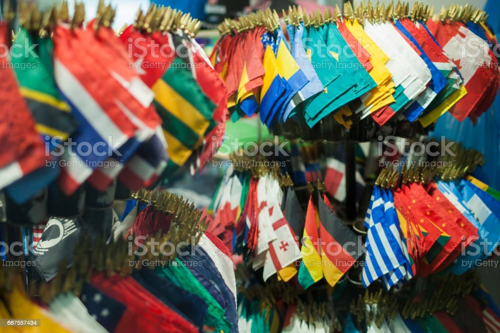 Plenty of National Souvenir's Flags Together. stock photo