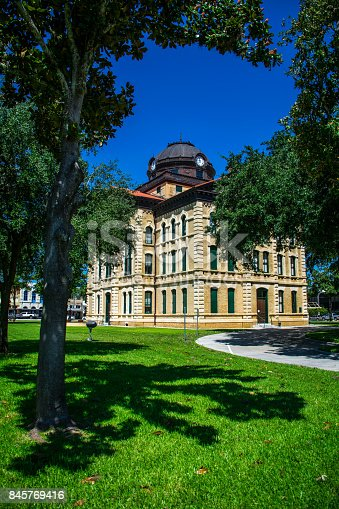 1024248138istockphoto plenty of shade in Columbus Texas City County Courthouse the Town Square of the Historic small Town of Texas along the Colorado River South west of Houston 845769416