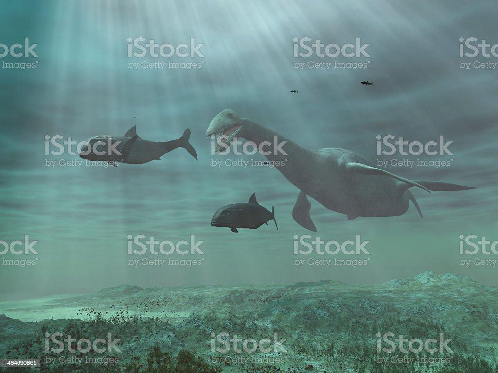 Plesiosaur verfolgen Fisch – Foto