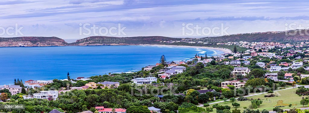 Plettenberg Bay panoramic with luxury homes stock photo