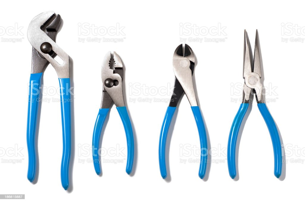 Pliers and Wire Snips Isolated on White Background royalty-free stock photo