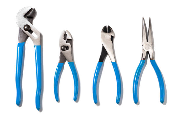 Pliers and Wire Snips Isolated on White Background stock photo