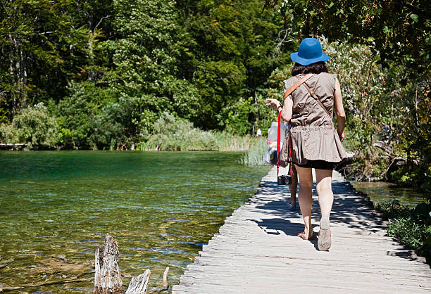 plitvice footbridge - plitvice lakes stockfoto's en -beelden