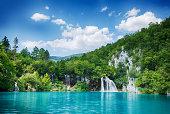 Idyllic scene from the Plitvice Lakes UNESCO World Heritage Site. HDR image.