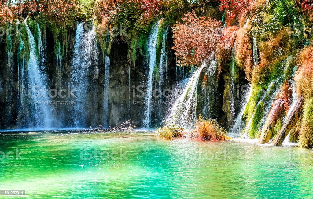 Plitvice Lakes in the autumn. royalty-free stock photo