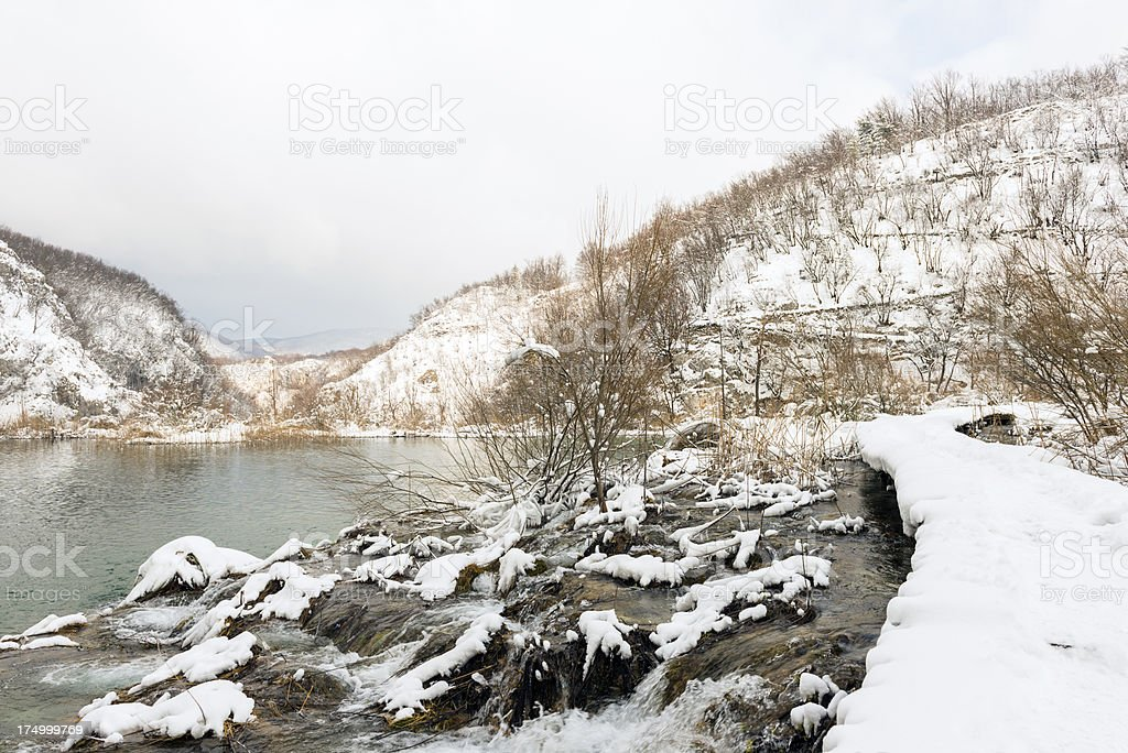 Plitvice Lakes in Winter royalty-free stock photo