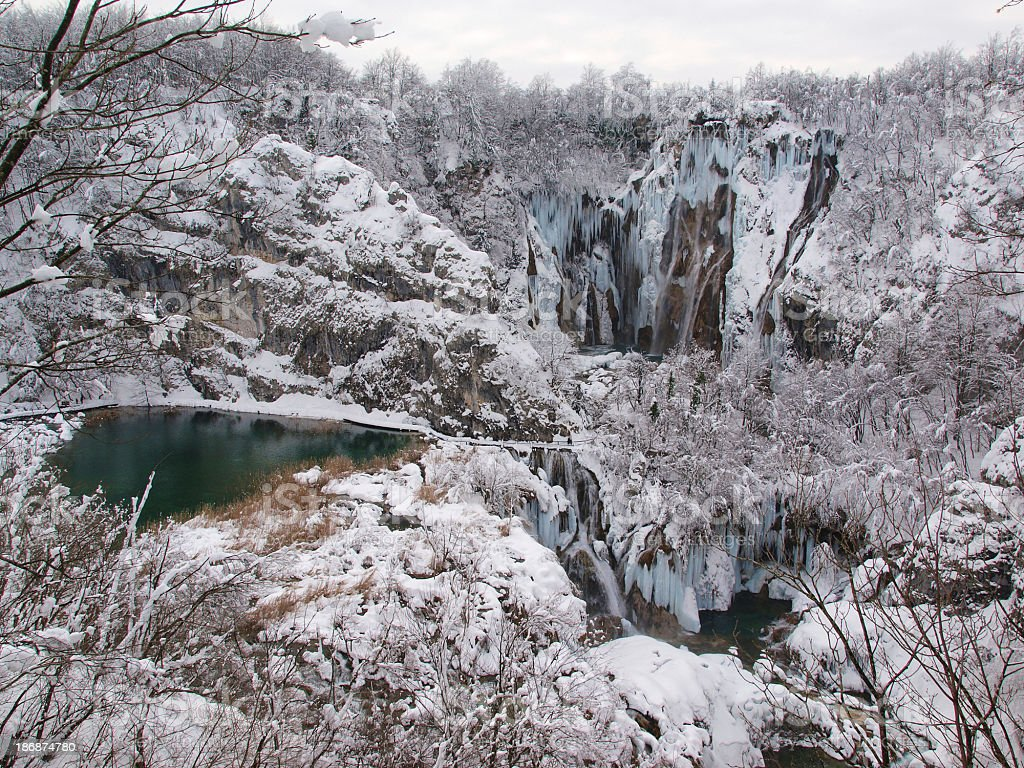 Plitvice Lakes In Winter Time Stock Photo Download Image